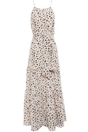 TIGERLILY فستان طويل من قماش كريب دي شين الحريري مع نقوش الفهد مزوّد بحزام