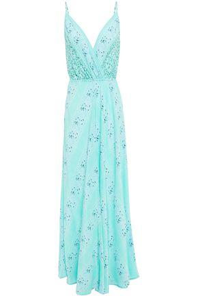 TIGERLILY فستان طويل بتصميم ملتفّ من قماش كريب دي شين الحريري المطبع برسومات
