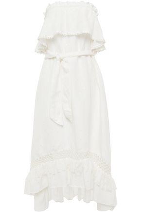 TIGERLILY Strapless macramé-trimmed Siwss-dot midi dress
