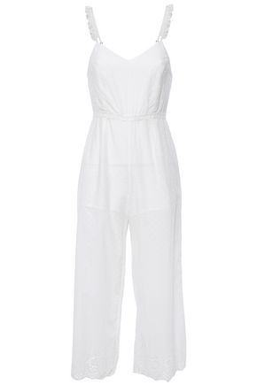 TIGERLILY Cropped broderie anglaise and Swiss-dot cotton jumpsuit
