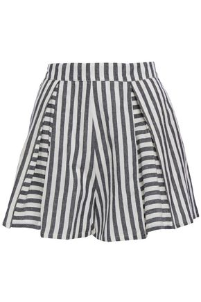 TIGERLILY Pleated striped linen and cotton-blend shorts