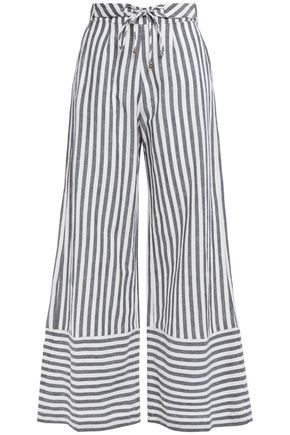 TIGERLILY Striped linen and cotton-blend wide-leg pants