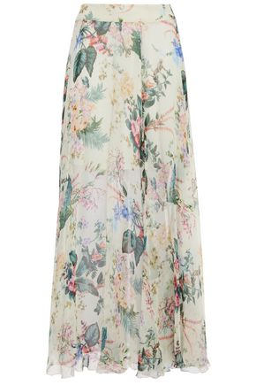 TIGERLILY Floral-print crinkled silk-gauze maxi skirt