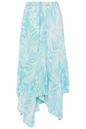 TIGERLILY Asymmetric printed cotton-gauze midi skirt