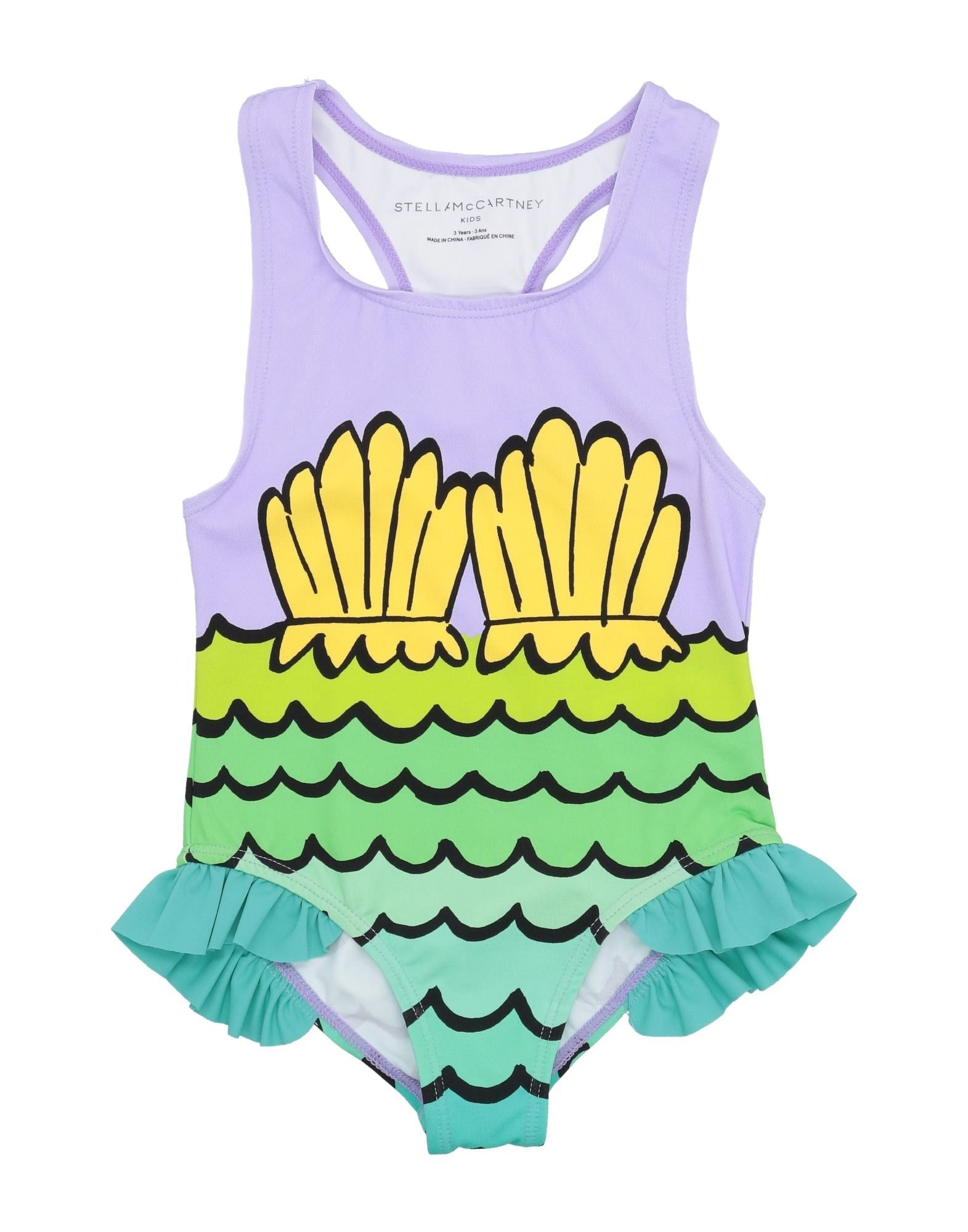 STELLA McCARTNEY KIDS One-piece swimsuits. synthetic jersey, no appliqués, antique effect, multicolor pattern, no fastening, no pockets, stretch, wash at 30degree c, do not dry clean, do not iron, do not bleach, do not tumble dry. 78% Polyamide, 22% Elastane, Recycled nylon