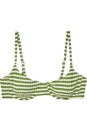 SOLID & STRIPED The Ginger striped ribbed bikini top