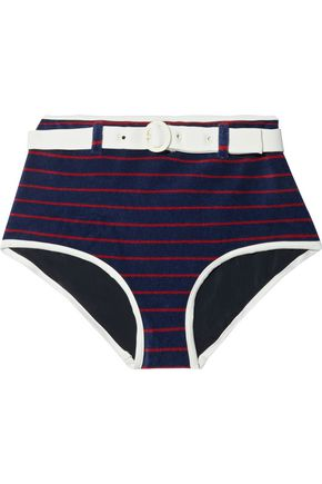 SOLID & STRIPED x RE/DONE The Nantucket belted striped cotton-blend terry high-rise bikini briefs