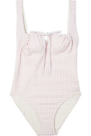 SOLID & STRIPED The Ellery bow-embellished gingham seersucker swimsuit