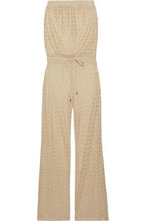 MELISSA ODABASH Grace strapless metallic crochet-knit wide-leg jumpsuit