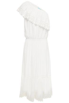 MELISSA ODABASH One-shoulder guipure lace-trimmed voile midi dress