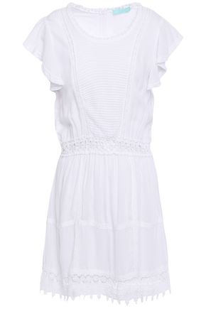 MELISSA ODABASH Loretta crochet-trimmed pintucked voile mini dress