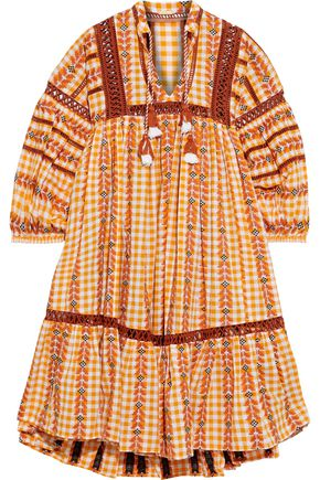 DODO BAR OR Gathered embroidered checked cotton-gauze dress