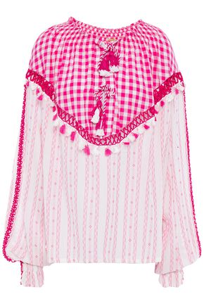 DODO BAR OR Tasseled cotton-jacquard and poplin blouse