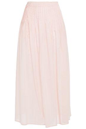 MARYSIA Pleated gingham Tencel and cotton-blend midi skirt