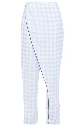 MARYSIA Wrap-effect gingham linen pants