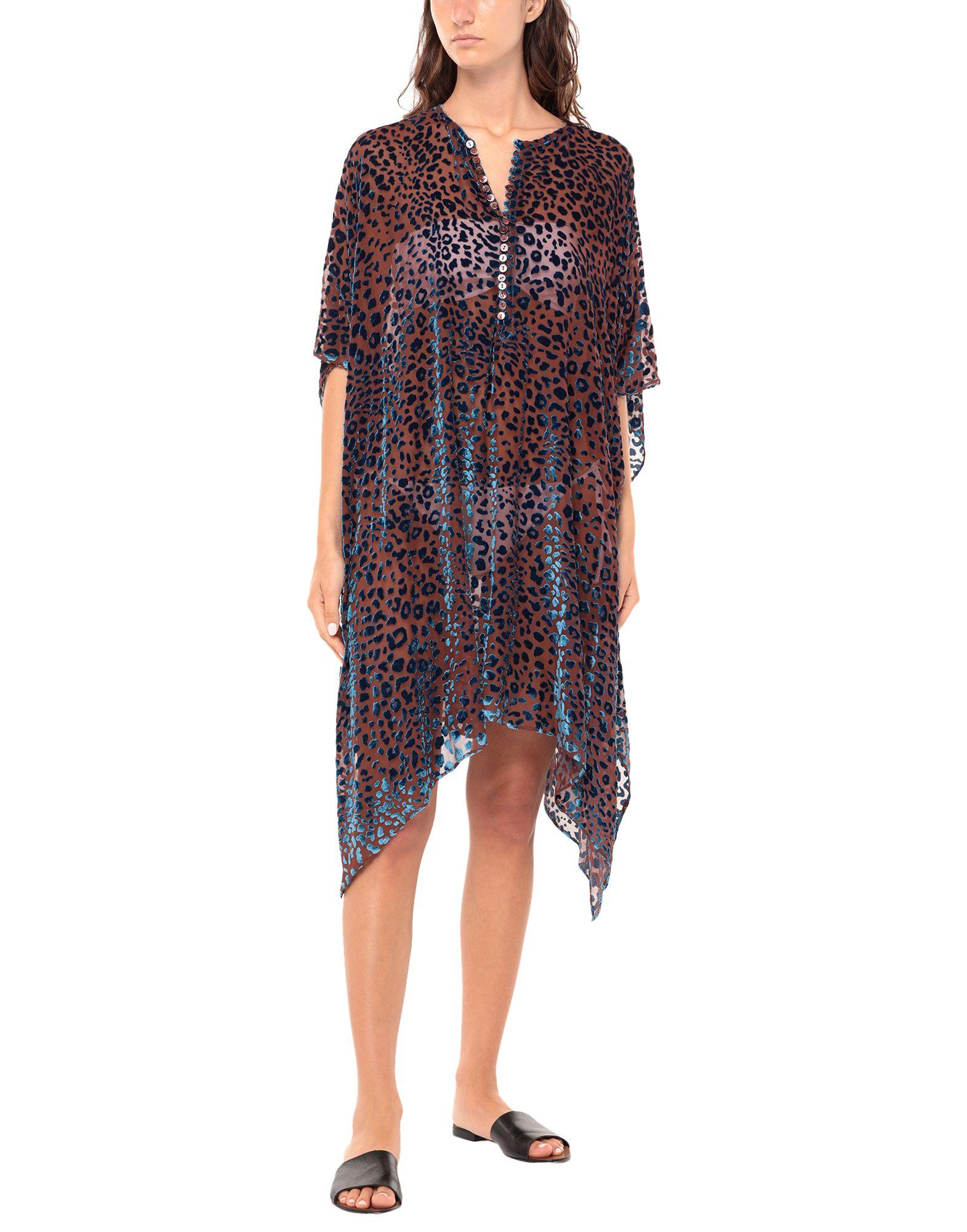 MAISON MARGIELA Cover-ups. velvet, crepe, no appliqués, leopard-print, short sleeves, front closure, no pockets, button closing, unlined. 65% Viscose, 35% Silk