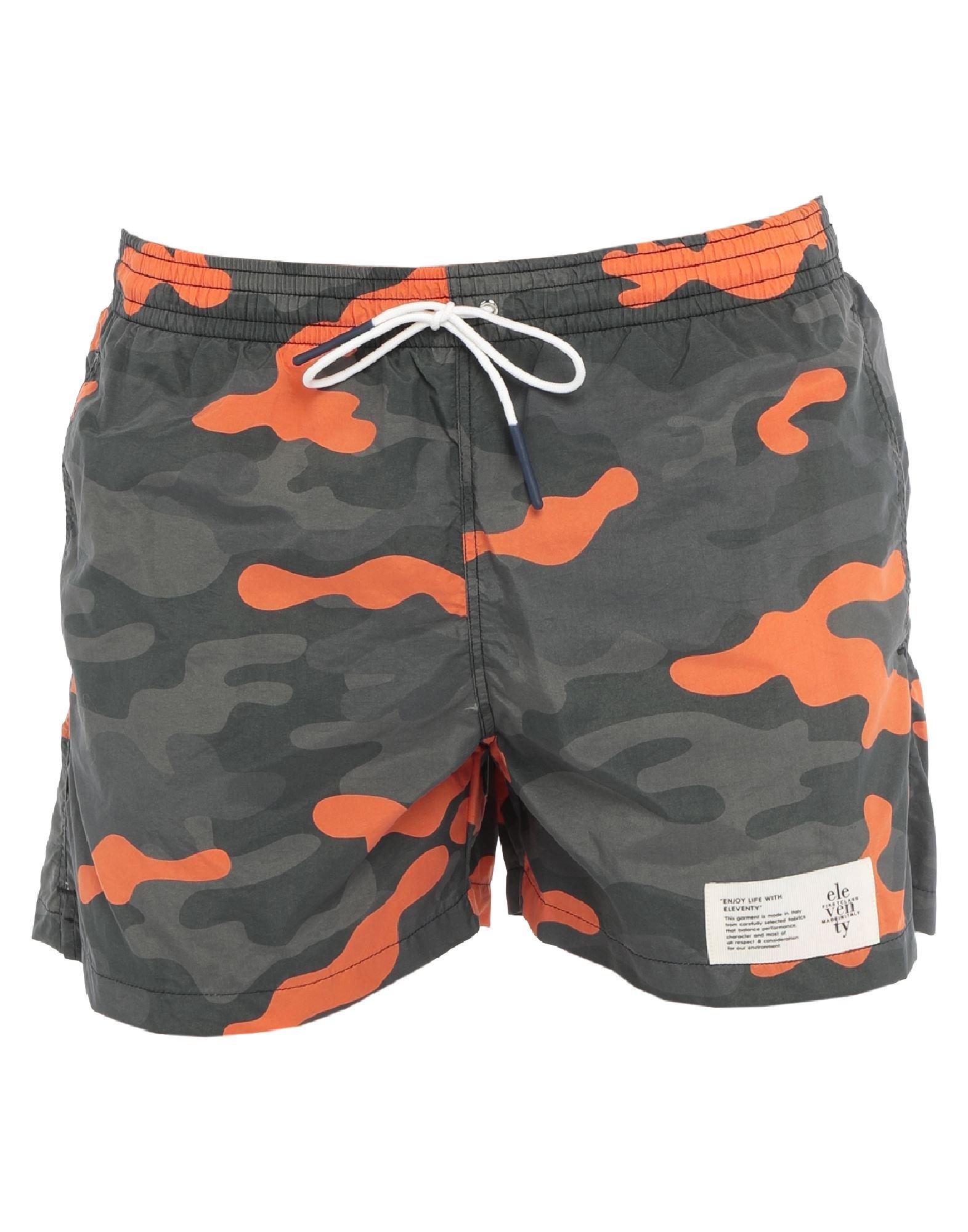 ELEVENTY Swim trunks. techno fabric, logo, camouflage, multipockets, drawstring closure, internal slip. 100% Polyamide