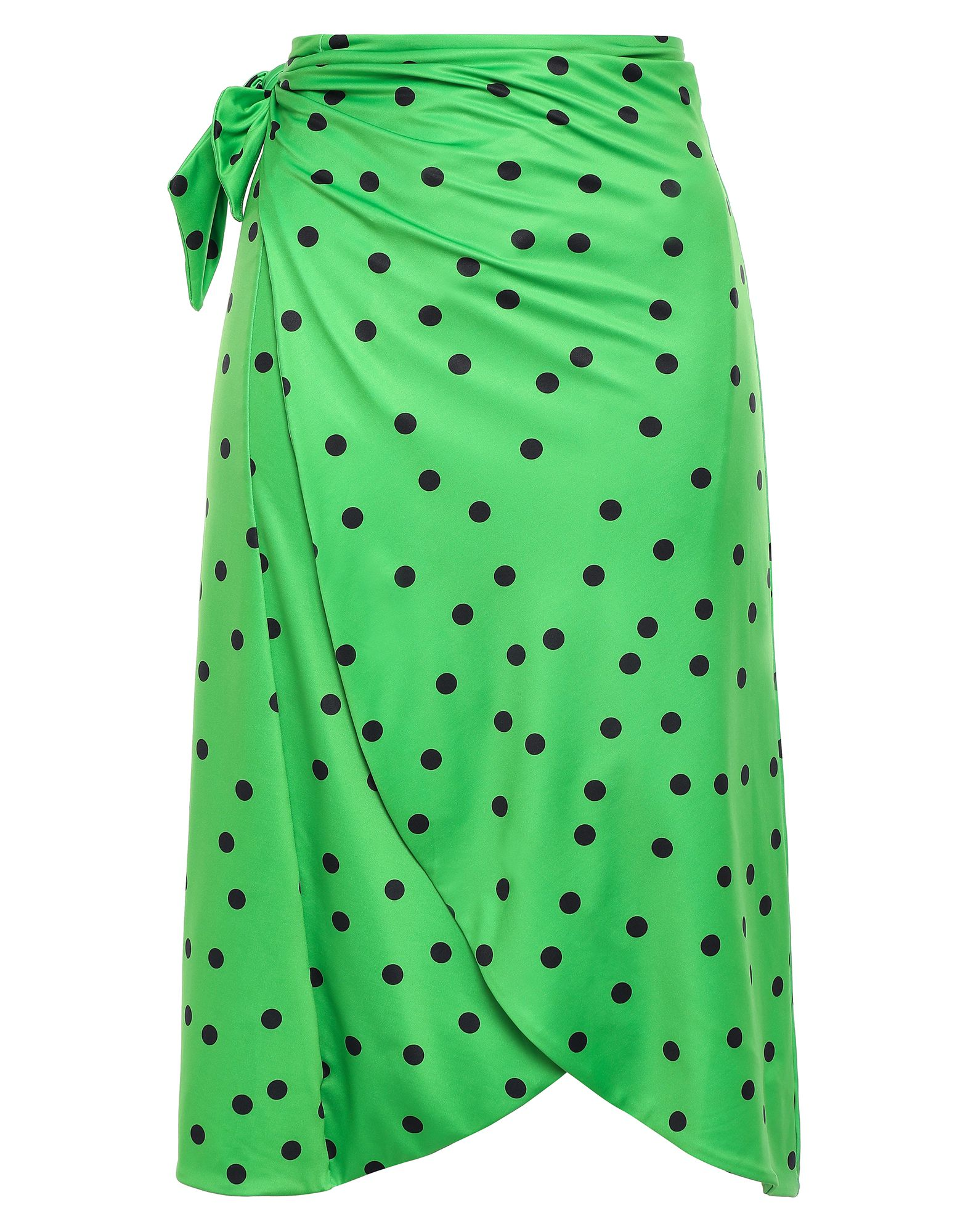 GANNI Sarongs. synthetic jersey, no appliqués, polka-dot, side closure, no pockets, self-tie wrap closure, fully lined, stretch. 82% Polyester, 18% Elastane