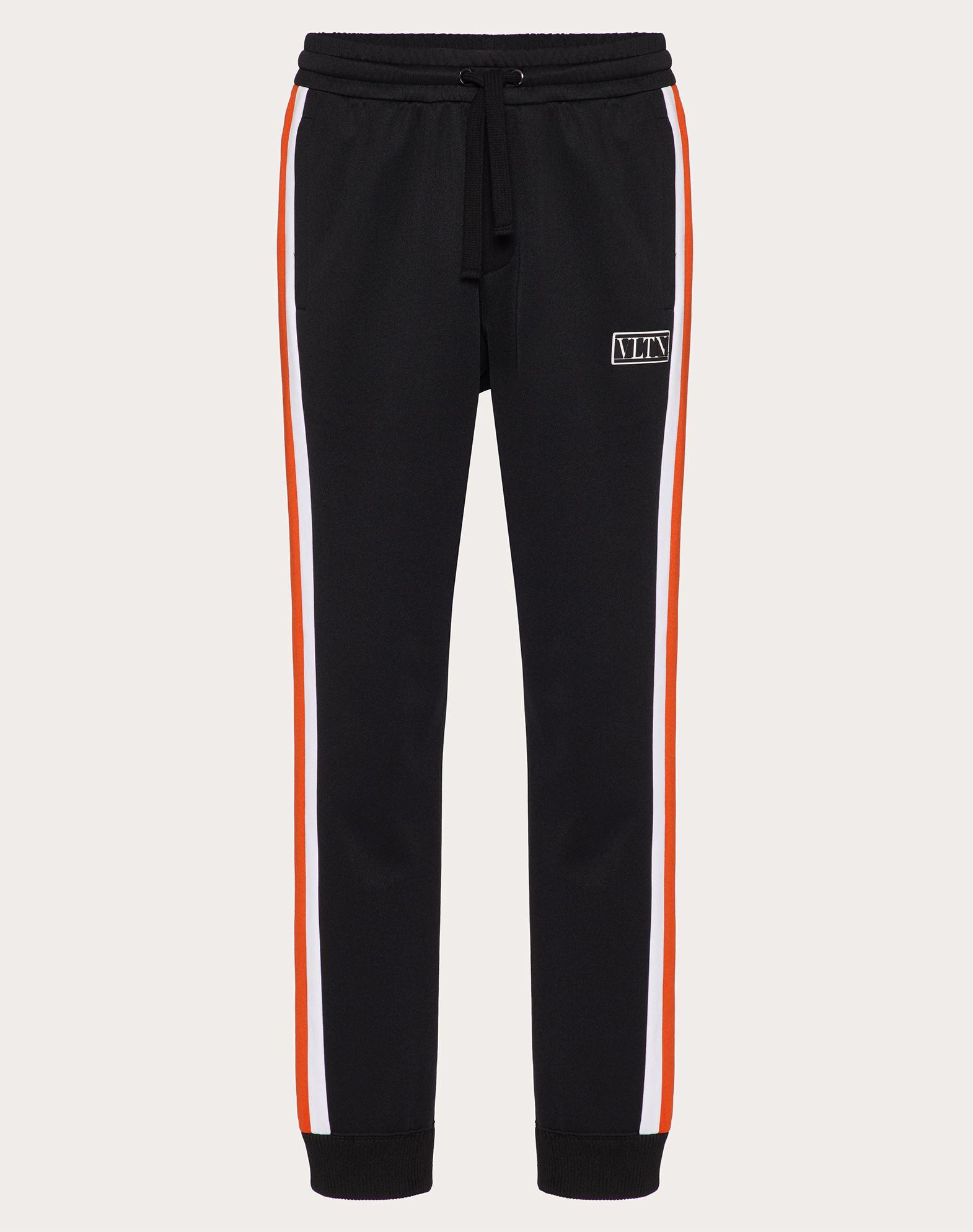 Valentino Uomo Technical Cotton Pants With Vltn Tag Color Block In Black/neon Orange
