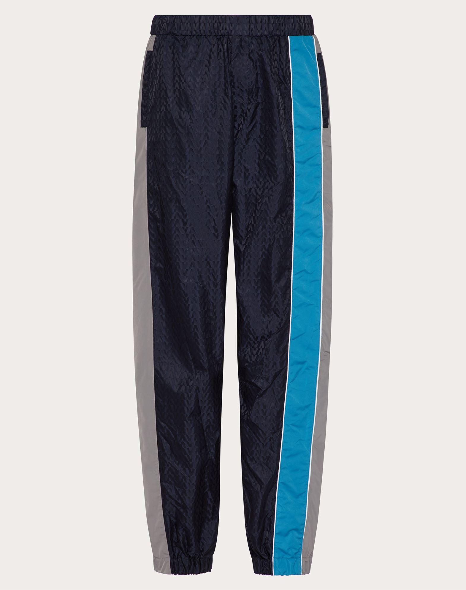 Valentino Uomo Hose Aus Nylon Mit Optical -motiv Herren Navy Blue 100% Poliammide 48 In Multi