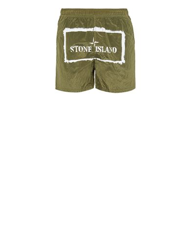 STONE ISLAND B0992 NYLON METAL 'STENCIL' PRINT  Swimming trunks Man Olive Green EUR 179