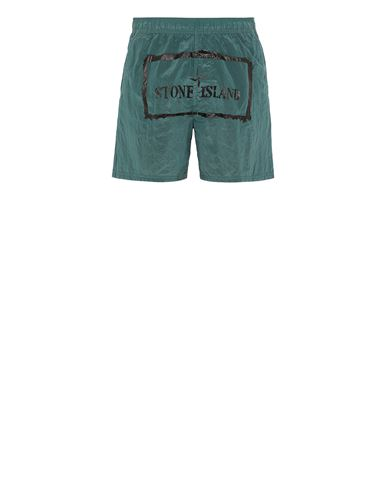 STONE ISLAND B0992 NYLON METAL 'STENCIL' PRINT  Swimming trunks Man Dark Teal Green EUR 190