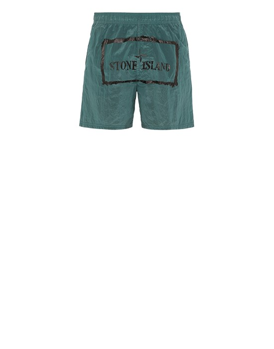 STONE ISLAND B0992 NYLON METAL 'STENCIL' PRINT  Swimming trunks Man Dark Teal Green