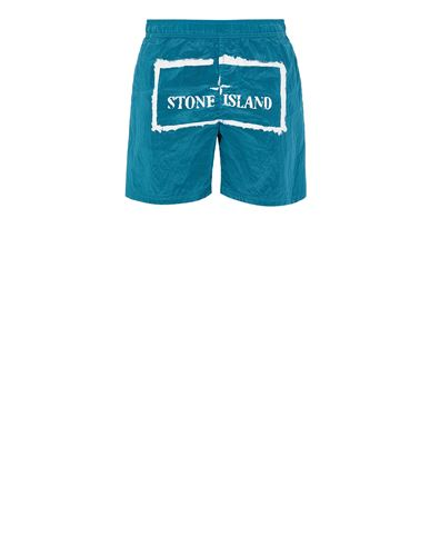 STONE ISLAND B0992 NYLON METAL 'STENCIL' PRINT  Swimming trunks Man Turquoise EUR 179