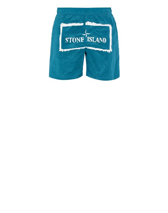 STONE ISLAND B0992 NYLON METAL 'STENCIL' PRINT  Swimming trunks Man Turquoise