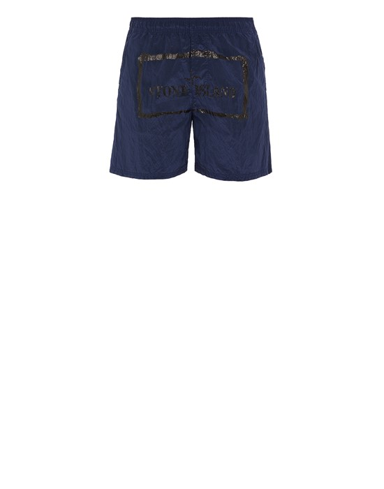 STONE ISLAND B0992 NYLON METAL 'STENCIL' PRINT  Swimming trunks Man Avio Blue
