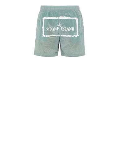 STONE ISLAND B0992 NYLON METAL 'STENCIL' PRINT  Swimming trunks Man Aqua USD 266
