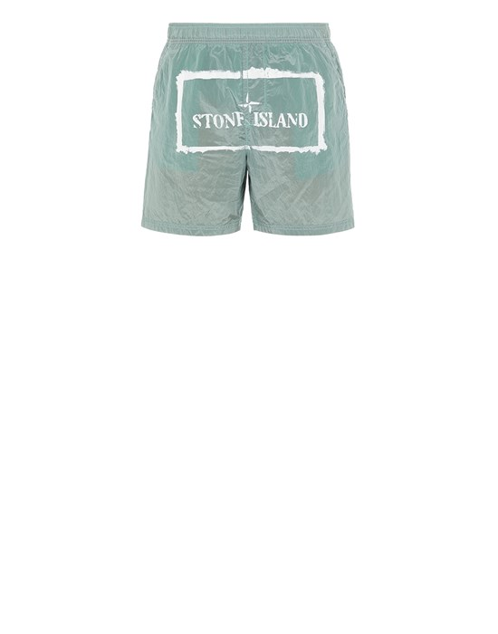 STONE ISLAND B0992 NYLON METAL 'STENCIL' PRINT  Swimming trunks Man Aqua