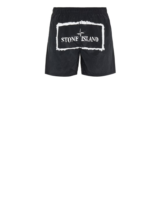 STONE ISLAND B0992 NYLON METAL 'STENCIL' PRINT  Swimming trunks Man Black