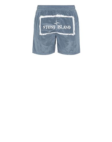 STONE ISLAND B0992 NYLON METAL 'STENCIL' PRINT  Swimming trunks Man Pastel Blue EUR 179