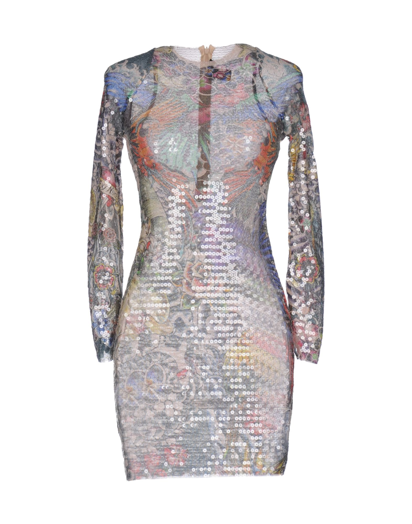DSQUARED2 Nightgowns. tulle, sequins, floral design, long sleeves, round collar, no pockets, rear closure, zip, unlined, stretch. 93% Polyamide, 7% Elastane