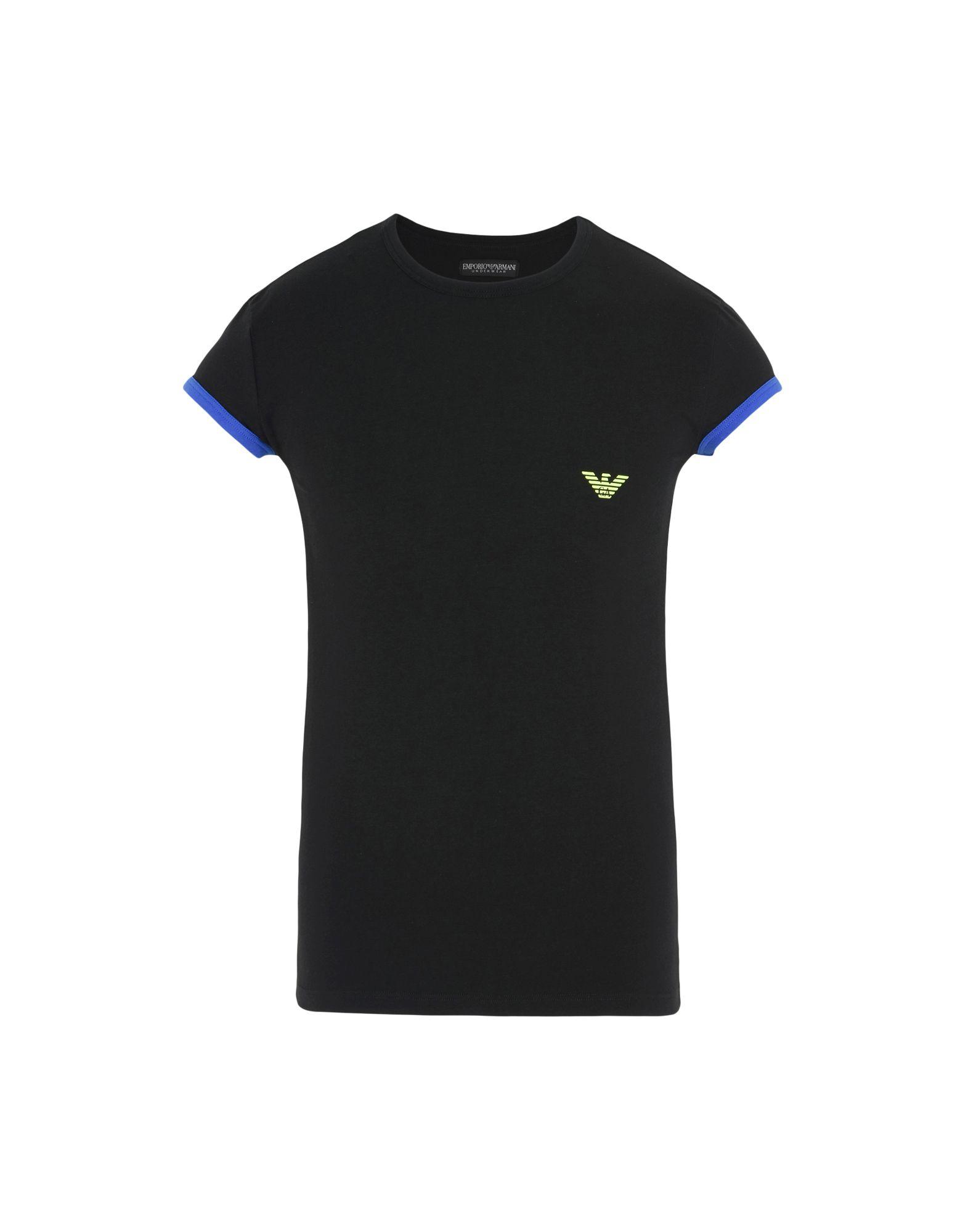 《送料無料》EMPORIO ARMANI メンズ アンダーTシャツ ブラック S コットン 90% / ポリウレタン 10% MEN'S KNIT T-SHIRT