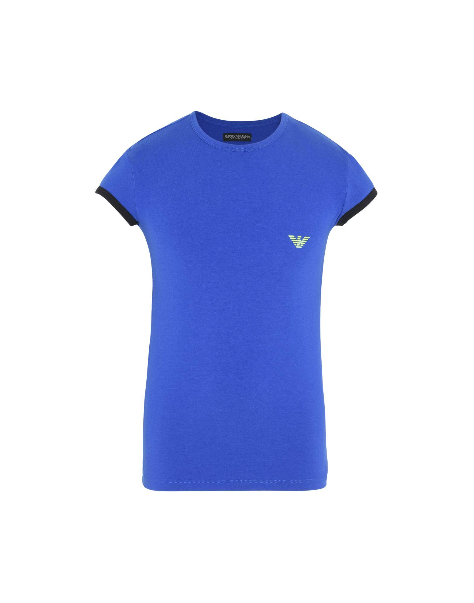 《期間限定セール開催中!》EMPORIO ARMANI メンズ アンダーTシャツ ブルー S コットン 90% / ポリウレタン 10% MEN'S KNIT T-SHIRT