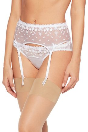 MIMI HOLLIDAY by DAMARIS Embroidered tulle suspender belt