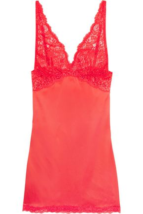 MIMI HOLLIDAY by DAMARIS Lace-trimmed silk-satin chemise