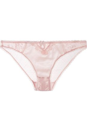 STELLA McCARTNEY Kate Kissing mid-rise lace-trimmed stretch-silk and point d'esprit briefs