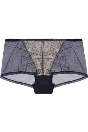 COSABELLA Cleope low-rise metallic lace-paneled tulle briefs