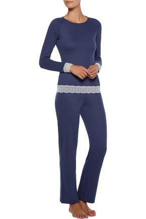 COSABELLA Cortina lace-trimmed cotton-blend pajama top