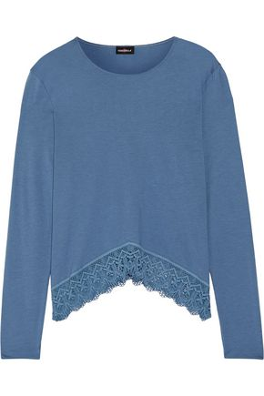 COSABELLA Edith lace-trimmed Pima cotton and Modal-blend top
