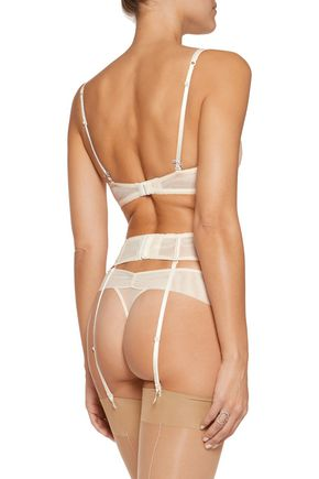 HEIDI KLUM INTIMATES Dolce Vita embroidered tulle suspender belt