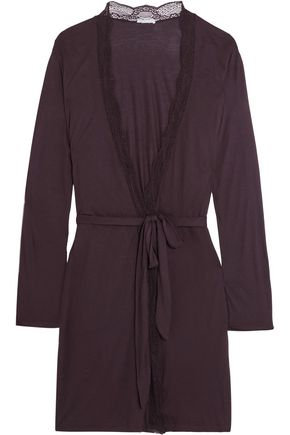 EBERJEY Clarisse lace-trimmed stretch-jersey robe