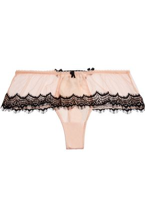 MIMI HOLLIDAY by DAMARIS Bisou Bisou Zoo silk-blend tulle, satin and lace thong