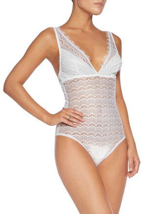 MIMI HOLLIDAY by DAMARIS Paneled lace and tulle bodysuit