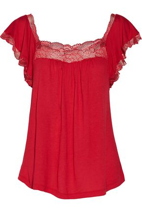 EBERJEY Cassandra lace-trimmed stretch-jersey pajama top