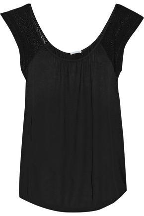 EBERJEY Rosette open knit-trimmed jersey pajama top