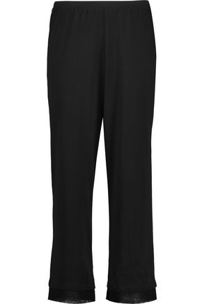 SKIN Tulle-trimmed Pima cotton-jersey pajama pants